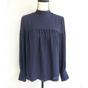 New Ann Taylor LOFT Navy Blue Sheer Top